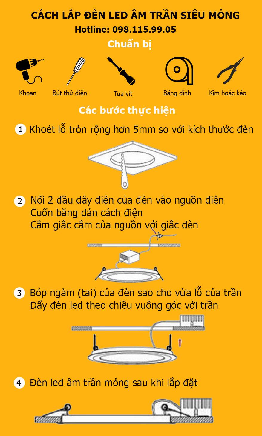 cách lắp đèn âm trần