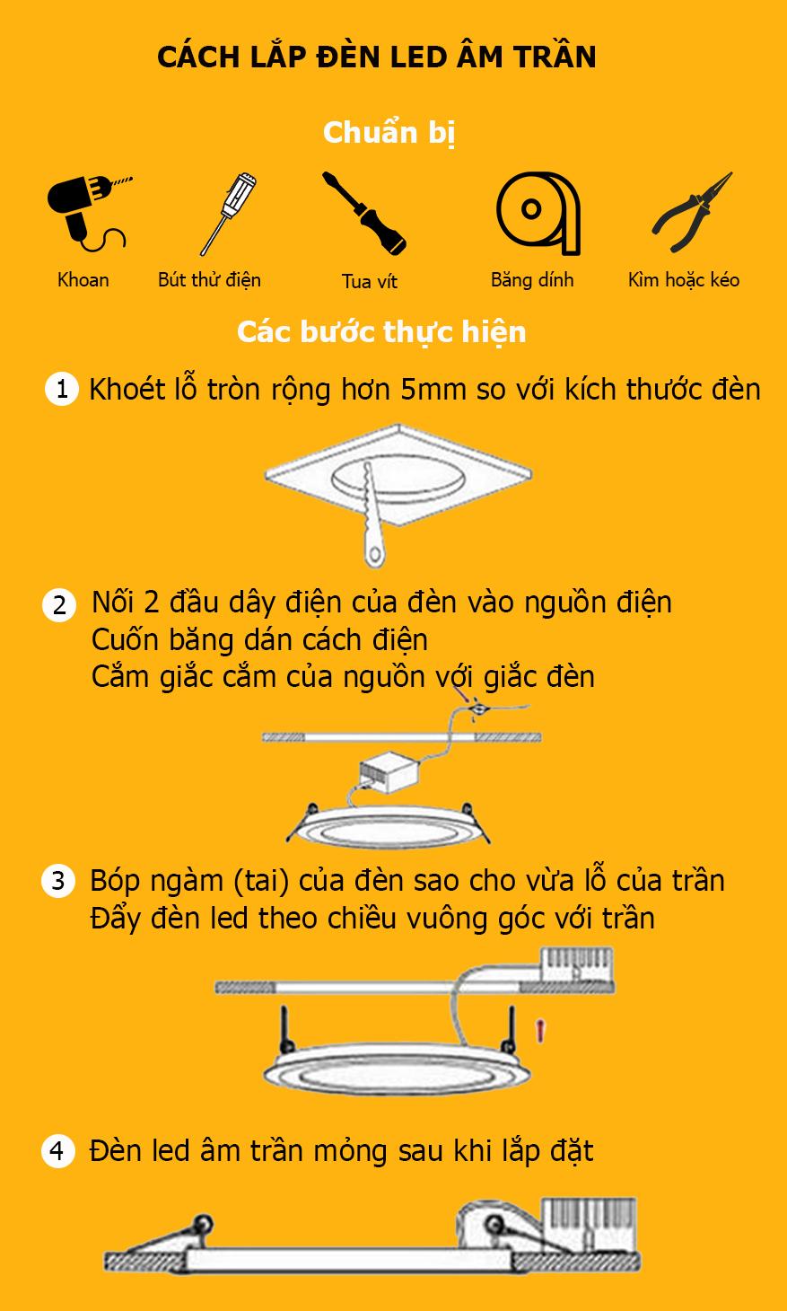 Cách lắp đèn led âm trần