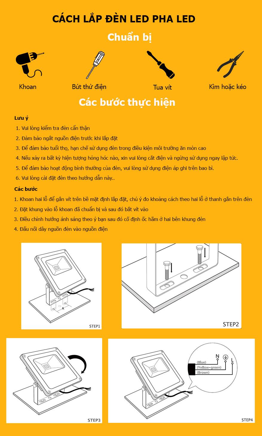 cách lắp đèn pha LED
